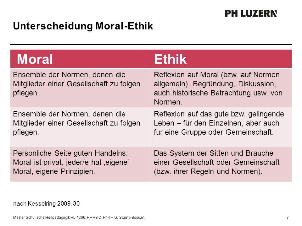 Unterscheidung Moral-Ethik MoralEthik Ensemble der Normen, denen die Mitglieder einer Gesellschaft zu folgen pflegen. Reflexion auf Moral (bzw. auf No