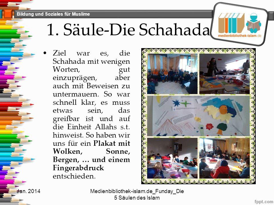 Bildung und Soziales für Muslime 1. Säule-Die Schahada Ziel war es, die Schahada mit wenigen Worten, gut einzuprägen, aber auch mit Beweisen zu unterm