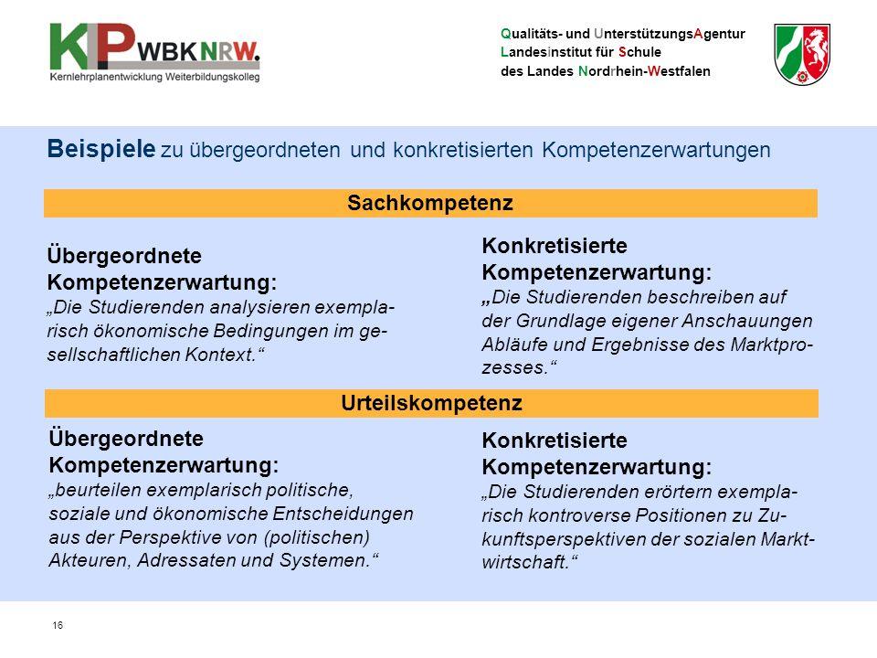 """Qualitäts- und UnterstützungsAgentur Landesinstitut für Schule des Landes Nordrhein-Westfalen Sachkompetenz Übergeordnete Kompetenzerwartung: """"Die Studierenden analysieren exempla- risch ökonomische Bedingungen im ge- sellschaftlichen Kontext. Konkretisierte Kompetenzerwartung: """"Die Studierenden beschreiben auf der Grundlage eigener Anschauungen Abläufe und Ergebnisse des Marktpro- zesses. Übergeordnete Kompetenzerwartung: """"beurteilen exemplarisch politische, soziale und ökonomische Entscheidungen aus der Perspektive von (politischen) Akteuren, Adressaten und Systemen. Beispiele zu übergeordneten und konkretisierten Kompetenzerwartungen 16 Konkretisierte Kompetenzerwartung: """"Die Studierenden erörtern exempla- risch kontroverse Positionen zu Zu- kunftsperspektiven der sozialen Markt- wirtschaft. Urteilskompetenz"""