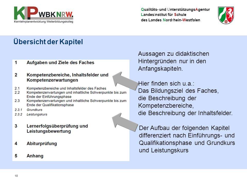 Qualitäts- und UnterstützungsAgentur Landesinstitut für Schule des Landes Nordrhein-Westfalen 18 Übersicht der Kapitel Der Aufbau der folgenden Kapite