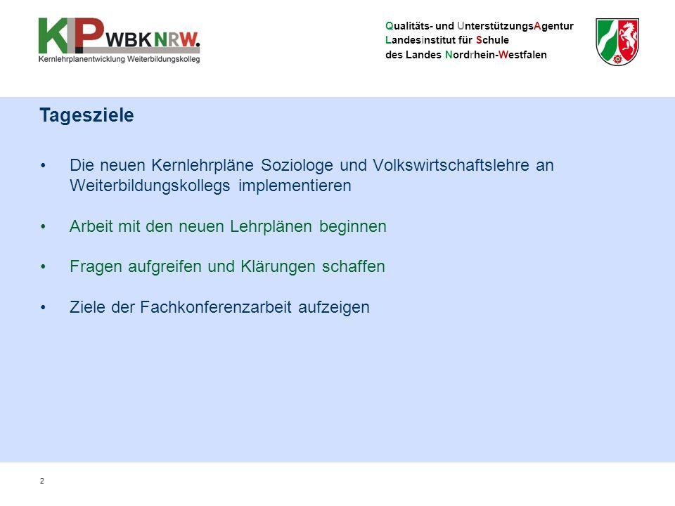 Qualitäts- und UnterstützungsAgentur Landesinstitut für Schule des Landes Nordrhein-Westfalen Die neuen Kernlehrpläne Soziologe und Volkswirtschaftsle