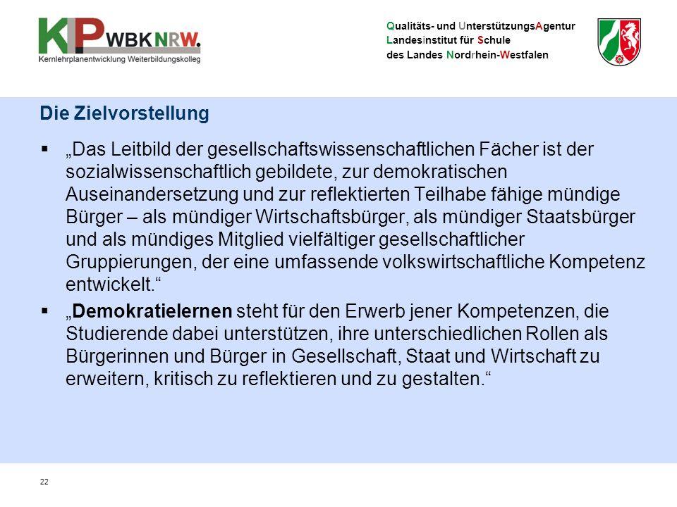 """Qualitäts- und UnterstützungsAgentur Landesinstitut für Schule des Landes Nordrhein-Westfalen 22 Die Zielvorstellung  """"Das Leitbild der gesellschafts"""
