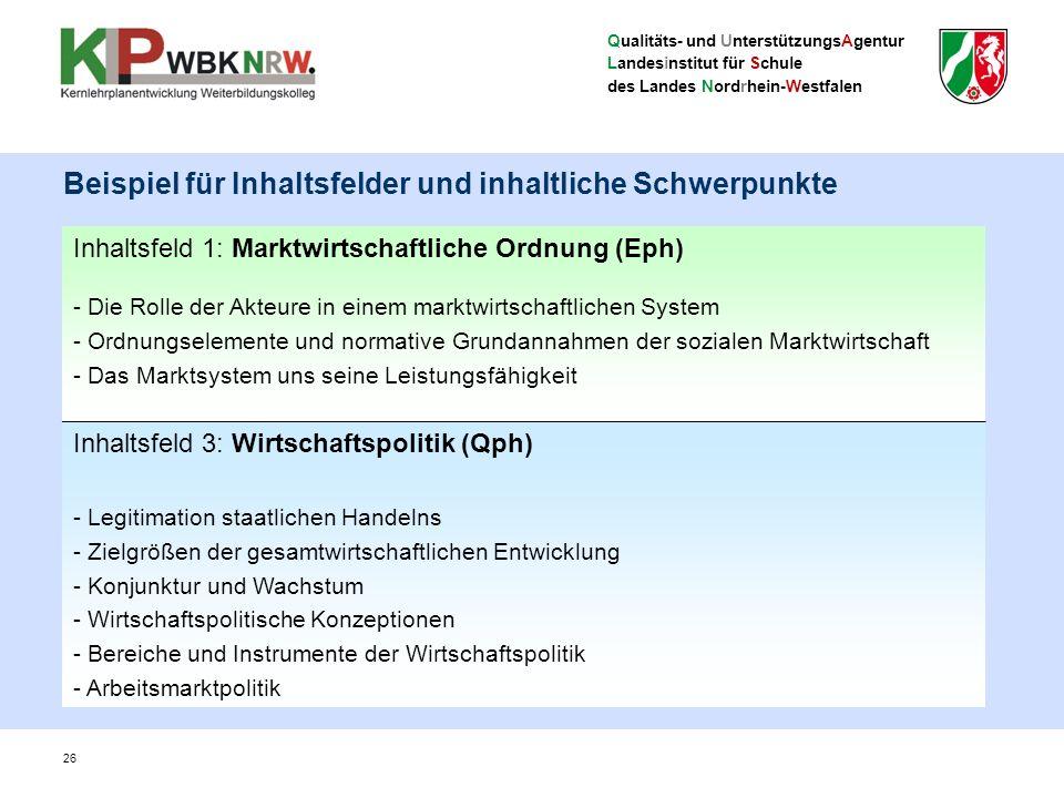 Qualitäts- und UnterstützungsAgentur Landesinstitut für Schule des Landes Nordrhein-Westfalen 26 Beispiel für Inhaltsfelder und inhaltliche Schwerpunk