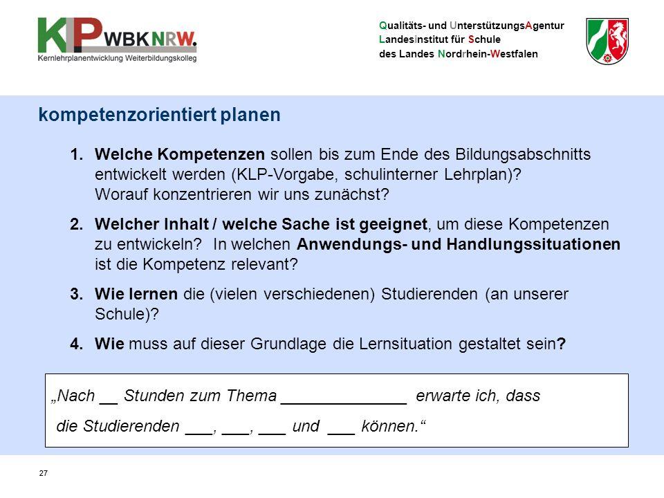 Qualitäts- und UnterstützungsAgentur Landesinstitut für Schule des Landes Nordrhein-Westfalen 27 1.Welche Kompetenzen sollen bis zum Ende des Bildungsabschnitts entwickelt werden (KLP-Vorgabe, schulinterner Lehrplan).