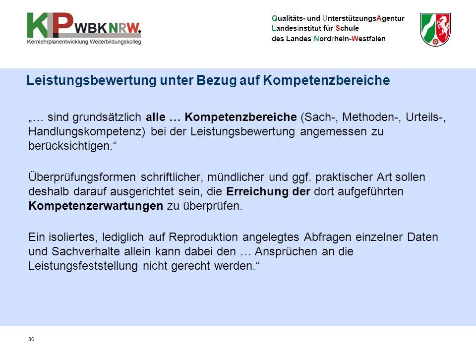"""Qualitäts- und UnterstützungsAgentur Landesinstitut für Schule des Landes Nordrhein-Westfalen Leistungsbewertung unter Bezug auf Kompetenzbereiche """"…"""