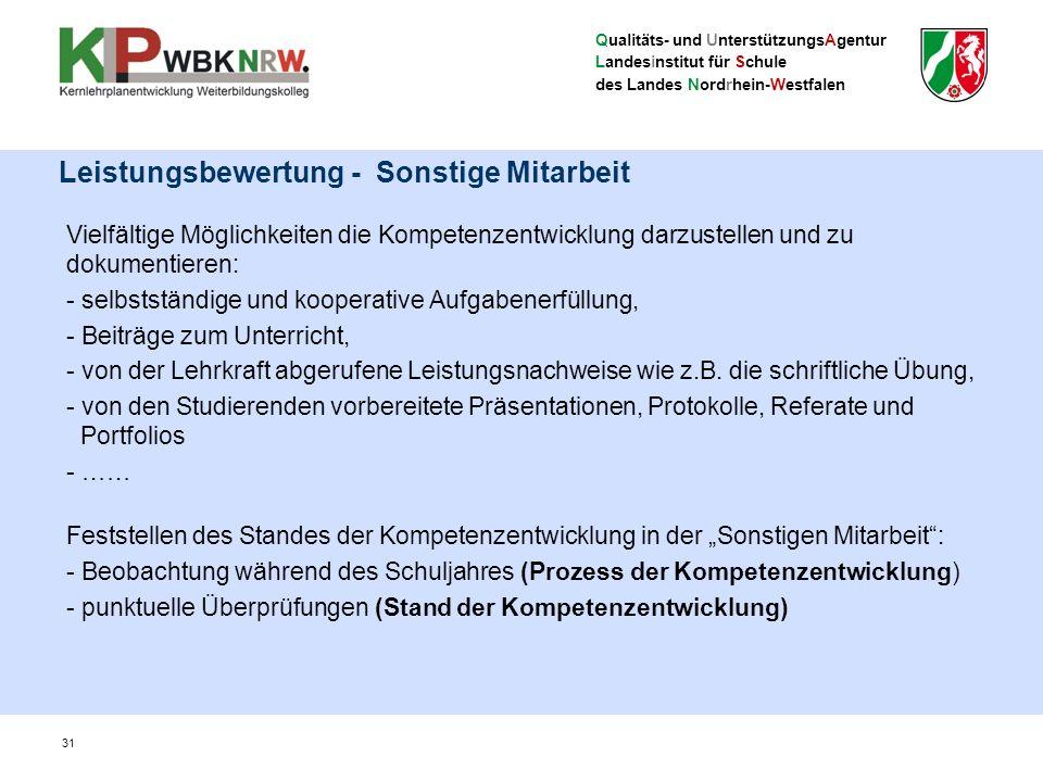 Qualitäts- und UnterstützungsAgentur Landesinstitut für Schule des Landes Nordrhein-Westfalen Leistungsbewertung - Sonstige Mitarbeit Vielfältige Mögl