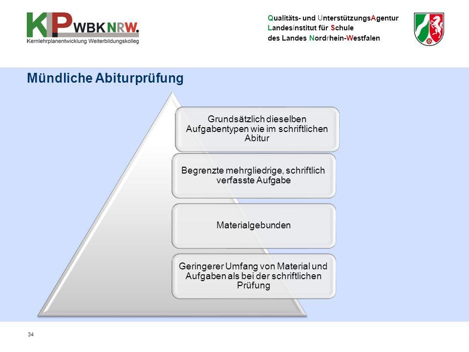 Qualitäts- und UnterstützungsAgentur Landesinstitut für Schule des Landes Nordrhein-Westfalen 34 Mündliche Abiturprüfung Grundsätzlich dieselben Aufga