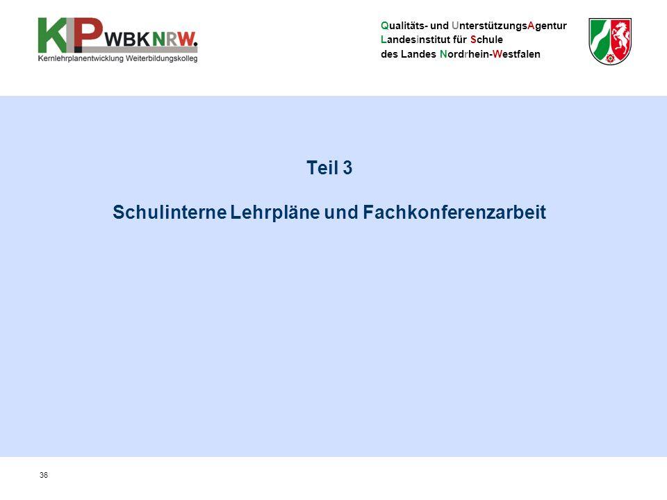 Qualitäts- und UnterstützungsAgentur Landesinstitut für Schule des Landes Nordrhein-Westfalen Teil 3 Schulinterne Lehrpläne und Fachkonferenzarbeit 36