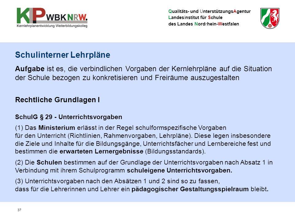 Qualitäts- und UnterstützungsAgentur Landesinstitut für Schule des Landes Nordrhein-Westfalen Schulinterner Lehrpläne Aufgabe ist es, die verbindliche