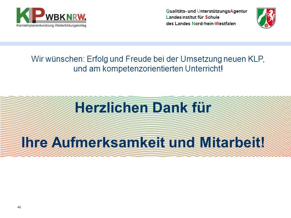 Qualitäts- und UnterstützungsAgentur Landesinstitut für Schule des Landes Nordrhein-Westfalen Herzlichen Dank für Ihre Aufmerksamkeit und Mitarbeit.
