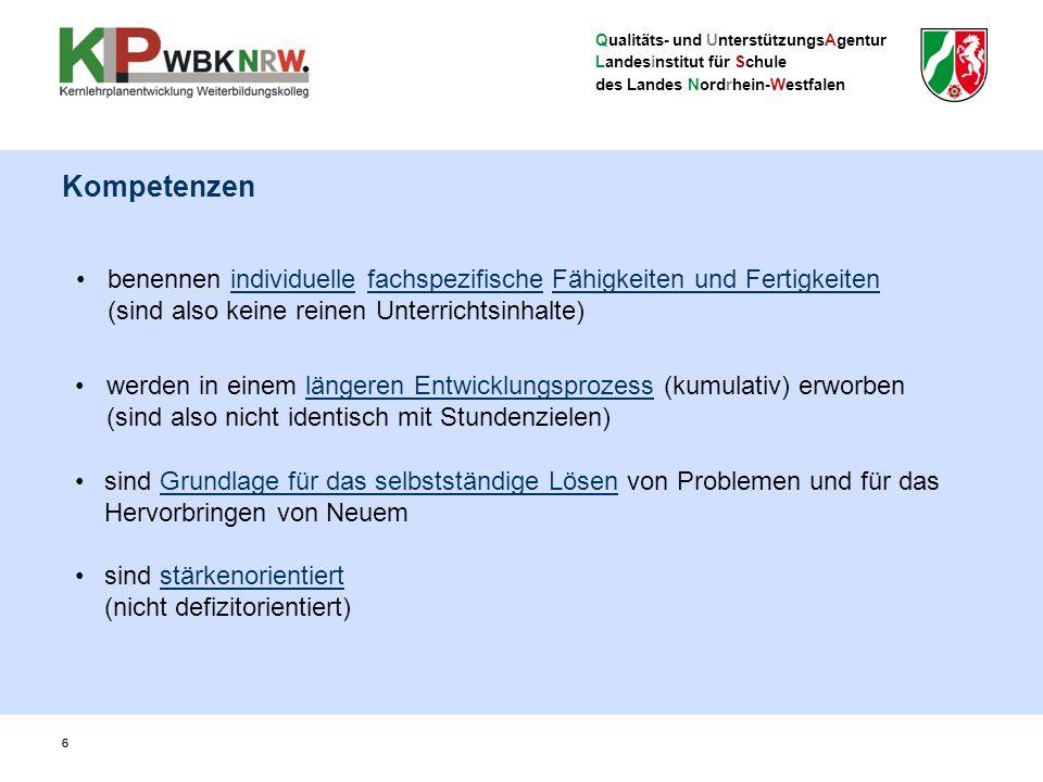 Qualitäts- und UnterstützungsAgentur Landesinstitut für Schule des Landes Nordrhein-Westfalen 6 werden in einem längeren Entwicklungsprozess (kumulativ) erworben (sind also nicht identisch mit Stundenzielen) sind stärkenorientiert (nicht defizitorientiert) 6 benennen individuelle fachspezifische Fähigkeiten und Fertigkeiten (sind also keine reinen Unterrichtsinhalte) sind Grundlage für das selbstständige Lösen von Problemen und für das Hervorbringen von Neuem Kompetenzen