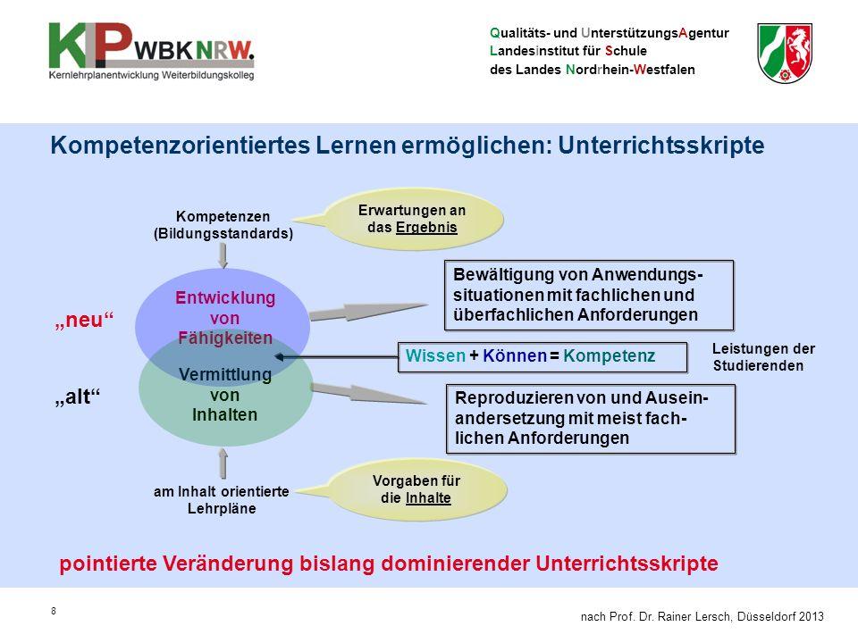 Qualitäts- und UnterstützungsAgentur Landesinstitut für Schule des Landes Nordrhein-Westfalen 8 Kompetenzorientiertes Lernen ermöglichen: Unterrichtss