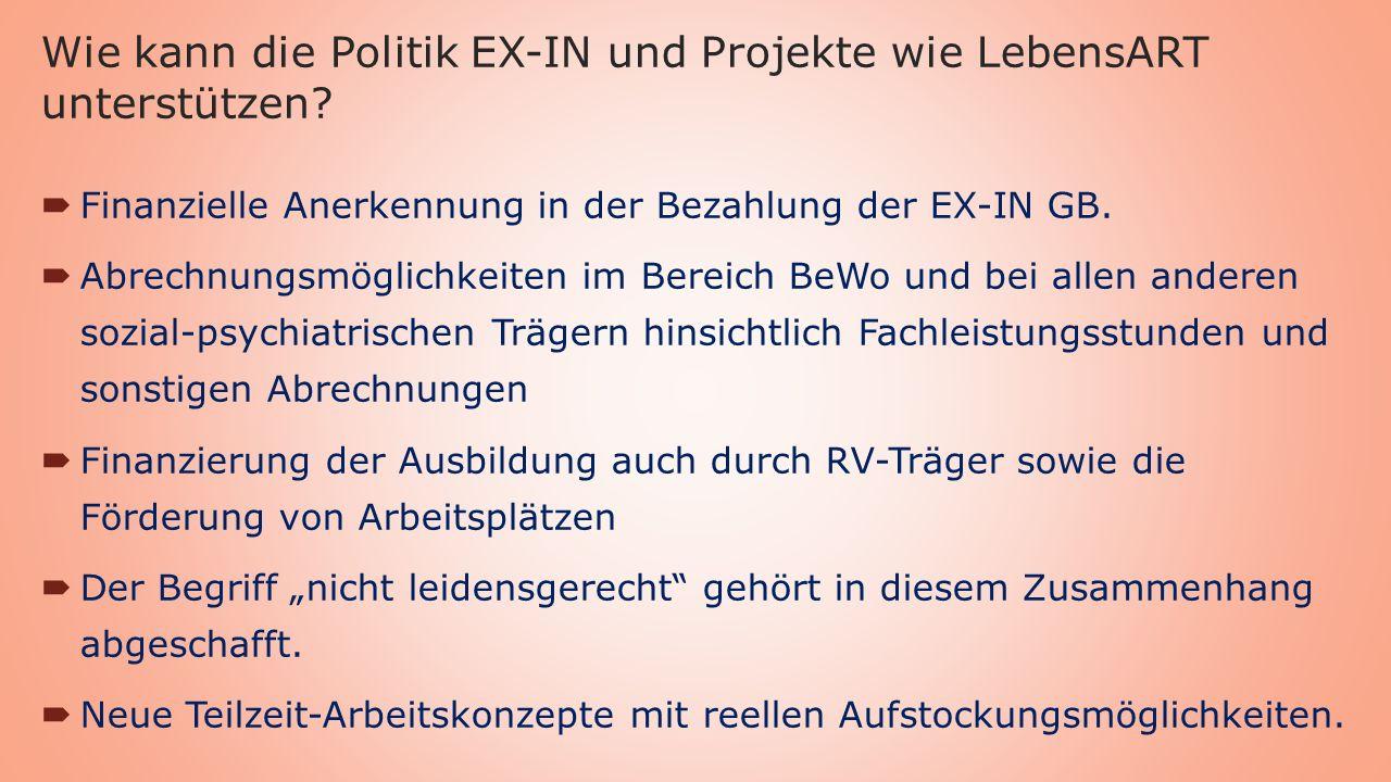 Wie kann die Politik EX-IN und Projekte wie LebensART unterstützen.