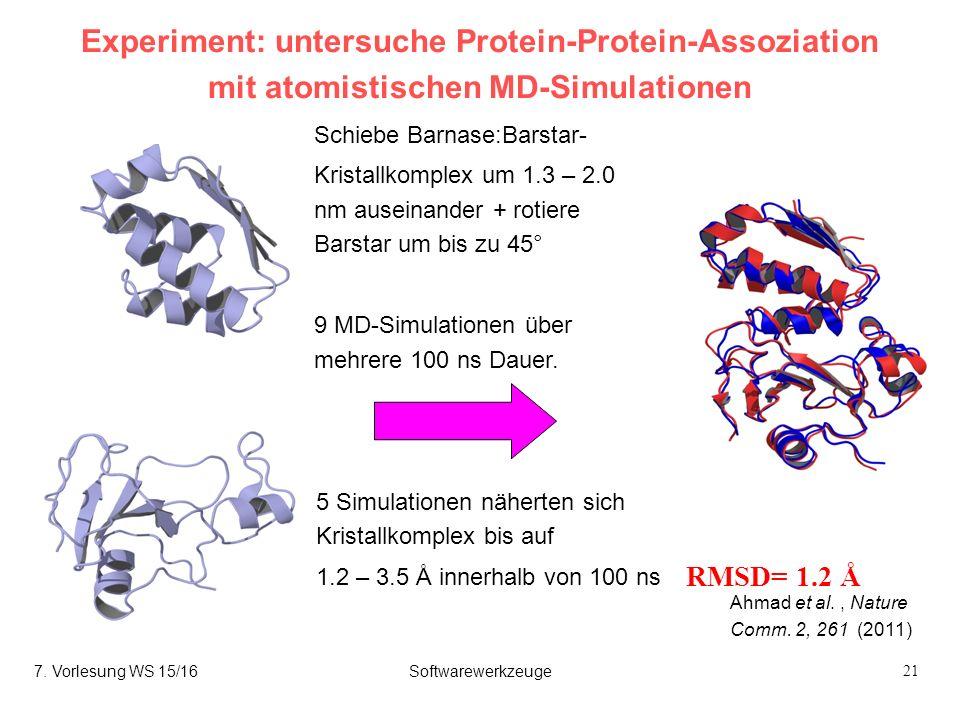 21 Experiment: untersuche Protein-Protein-Assoziation mit atomistischen MD-Simulationen RMSD= 1.2 Å Red: Snapshot from simulation (340 ns) Blue: crystal structure 5 Simulationen näherten sich Kristallkomplex bis auf 1.2 – 3.5 Å innerhalb von 100 ns Ahmad et al., Nature Comm.