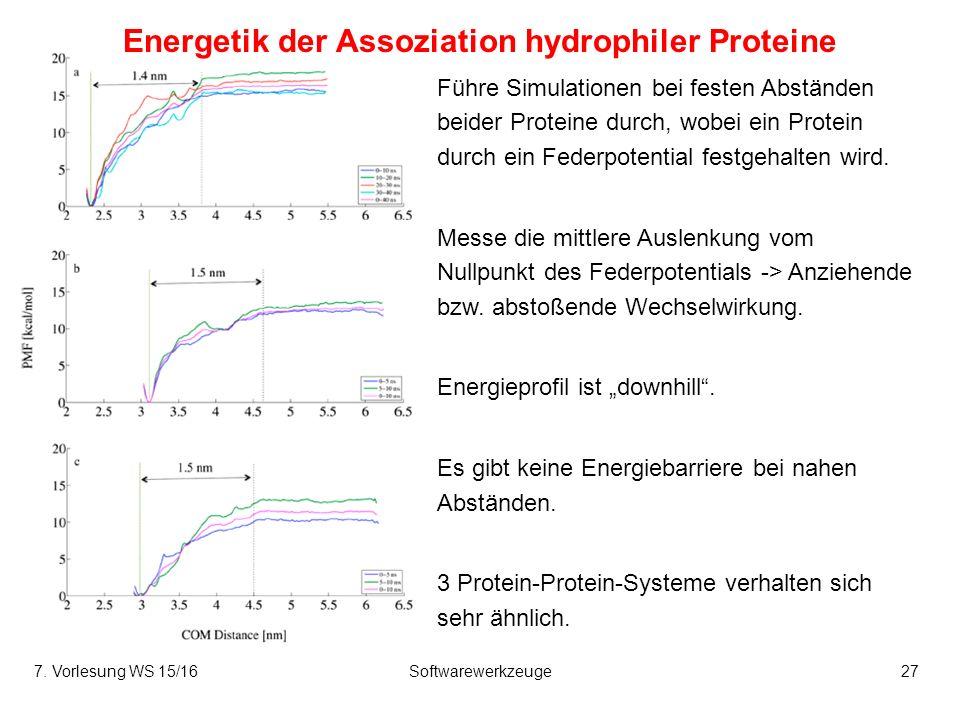 7. Vorlesung WS 15/16Softwarewerkzeuge27 Energetik der Assoziation hydrophiler Proteine Führe Simulationen bei festen Abständen beider Proteine durch,
