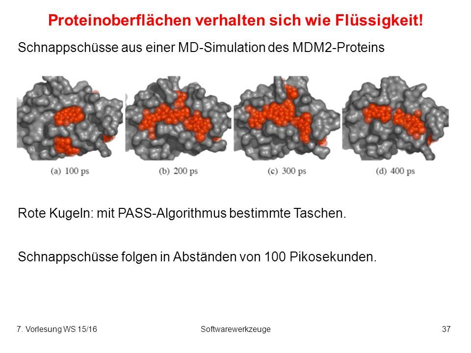 7. Vorlesung WS 15/16Softwarewerkzeuge37 Proteinoberflächen verhalten sich wie Flüssigkeit.