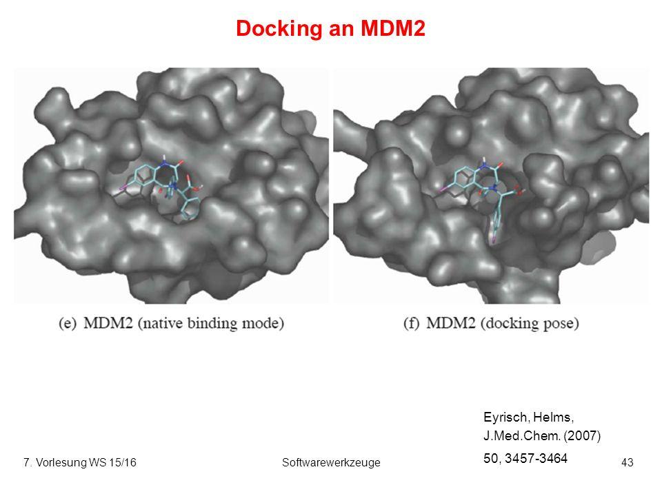 7. Vorlesung WS 15/16Softwarewerkzeuge43 Docking an MDM2 Eyrisch, Helms, J.Med.Chem.