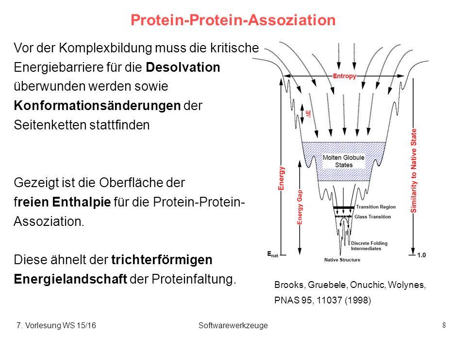 8 Protein-Protein-Assoziation Brooks, Gruebele, Onuchic, Wolynes, PNAS 95, 11037 (1998) Vor der Komplexbildung muss die kritische Energiebarriere für die Desolvation überwunden werden sowie Konformationsänderungen der Seitenketten stattfinden Gezeigt ist die Oberfläche der freien Enthalpie für die Protein-Protein- Assoziation.