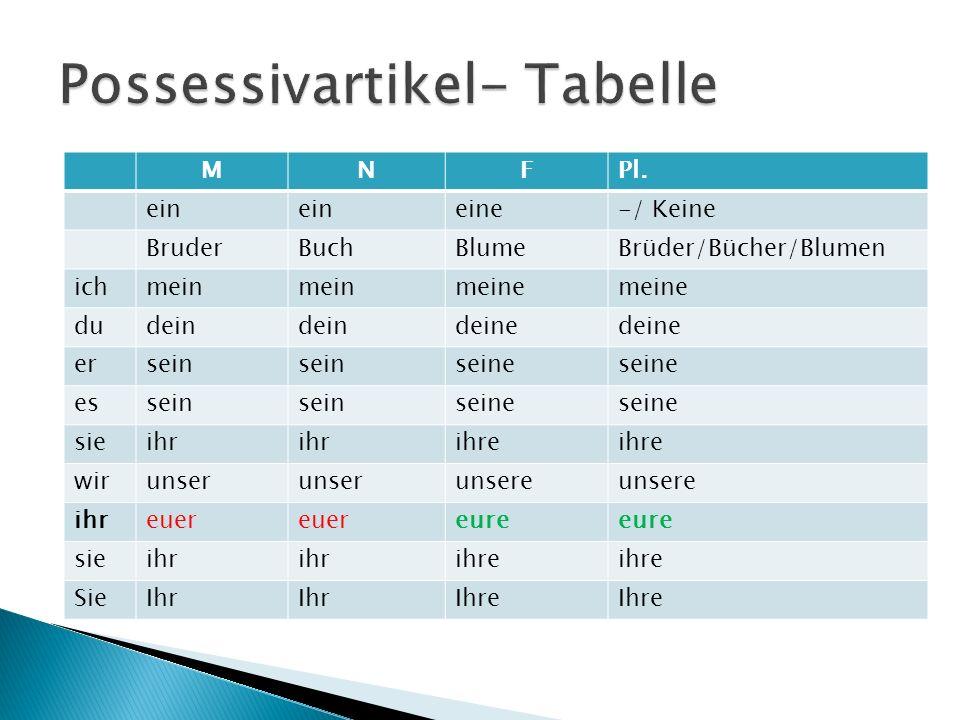  Pentru a facilita memorarea formelor articolului posesiv, se va face apel la formele articolului nehotărât:ein/ein/eine- la singular, keine(formă negativă)-la plural.