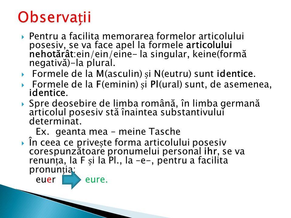  Pentru a facilita memorarea formelor articolului posesiv, se va face apel la formele articolului nehotărât:ein/ein/eine- la singular, keine(formă ne