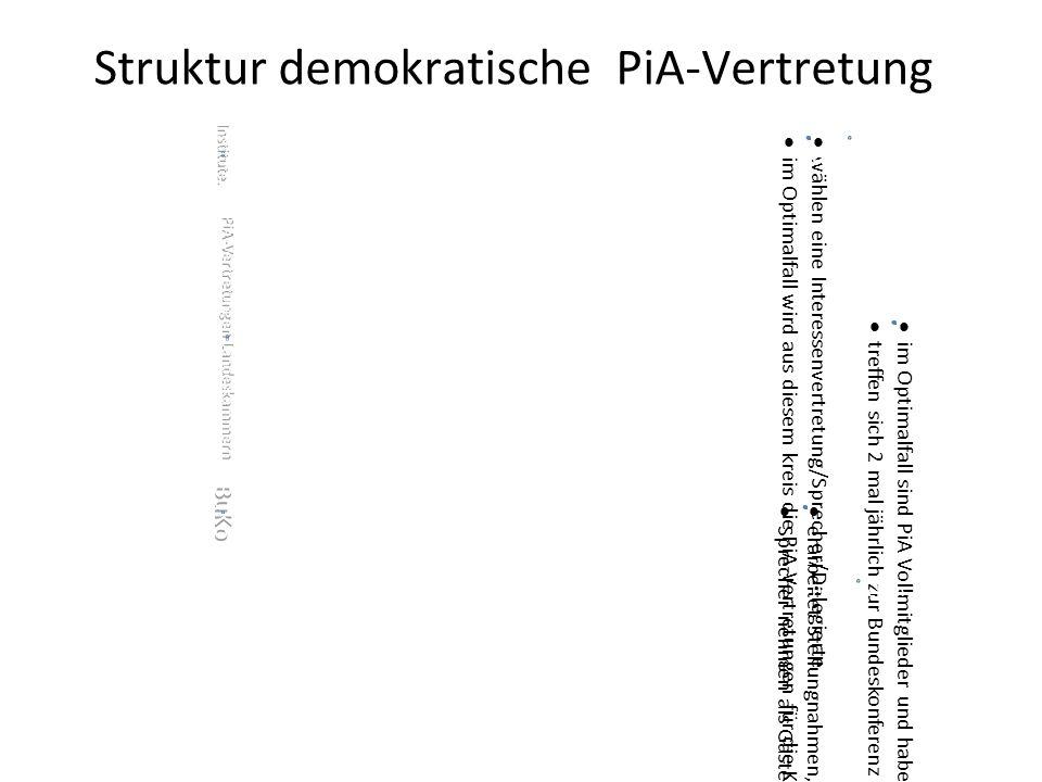 Struktur demokratische PiA-Vertretung Institute.  wählen eine Interessenvertretung/Sprecher/Delegierte  im Optimalfall wird aus diesem kreis die PiA