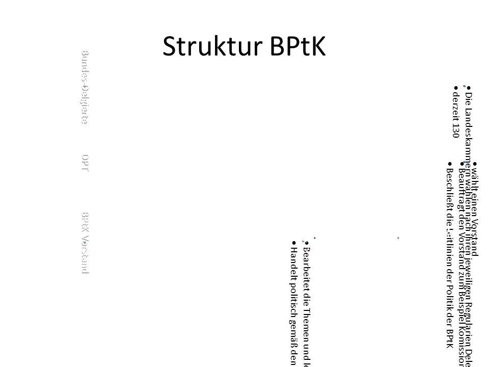 Struktur BPtK Bundes-Delgierte  Die Landeskammern wählen nach ihren jeweiligen Regularien Delegierte für den Deutschen Psychotherapeutentag  derzeit