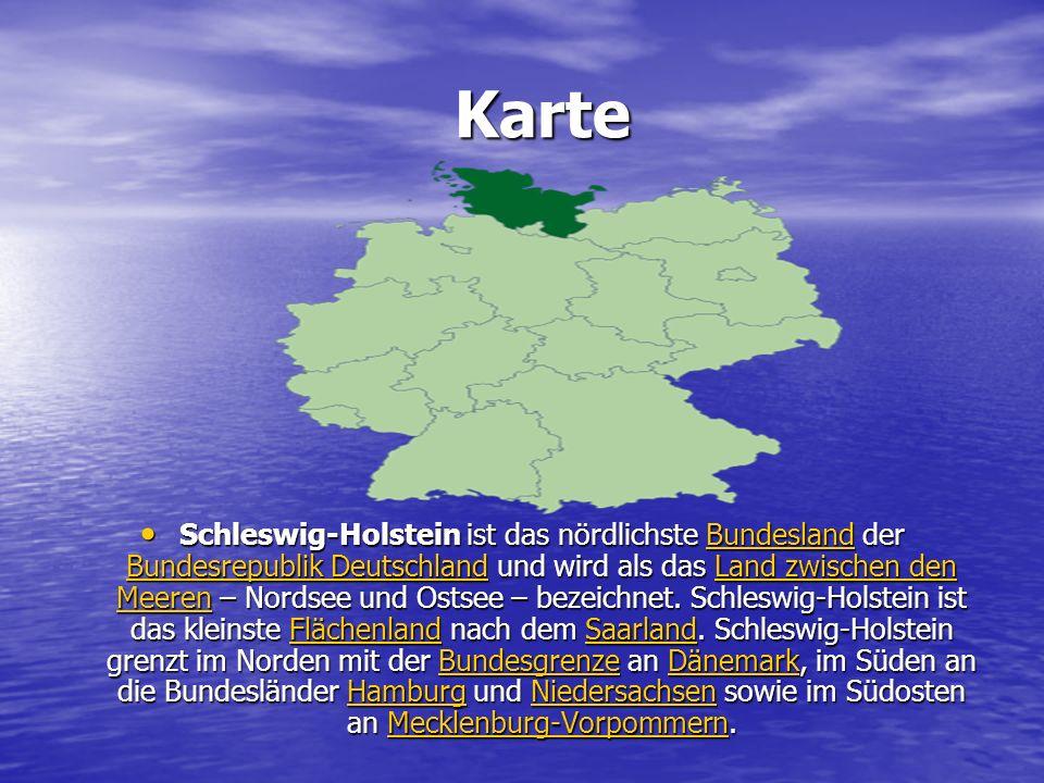 Karte Karte Schleswig-Holstein ist das nördlichste Bundesland der Bundesrepublik Deutschland und wird als das Land zwischen den Meeren – Nordsee und Ostsee – bezeichnet.