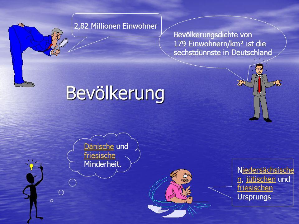 Bevölkerung 2,82 Millionen Einwohner Bevölkerungsdichte von 179 Einwohnern/km² ist die sechstdünnste in Deutschland Dänische und friesische Minderheit.