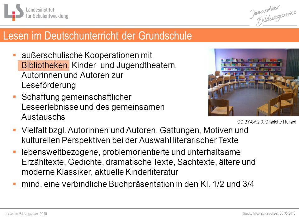 Lesen im Bildungsplan 2016 Stadtbibliothek Radolfzell, 30.05.2016 Lesen im Deutschunterricht der Grundschule Medien  außerschulische Kooperationen mit Bibliotheken, Kinder- und Jugendtheatern, Autorinnen und Autoren zur Leseförderung  Schaffung gemeinschaftlicher Leseerlebnisse und des gemeinsamen Austauschs  Vielfalt bzgl.