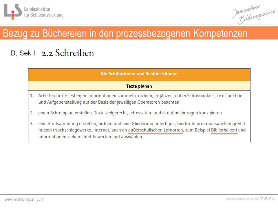 Lesen im Bildungsplan 2016 Stadtbibliothek Radolfzell, 30.05.2016 Bezug zu Büchereien in den prozessbezogenen Kompetenzen Medien D, Sek I