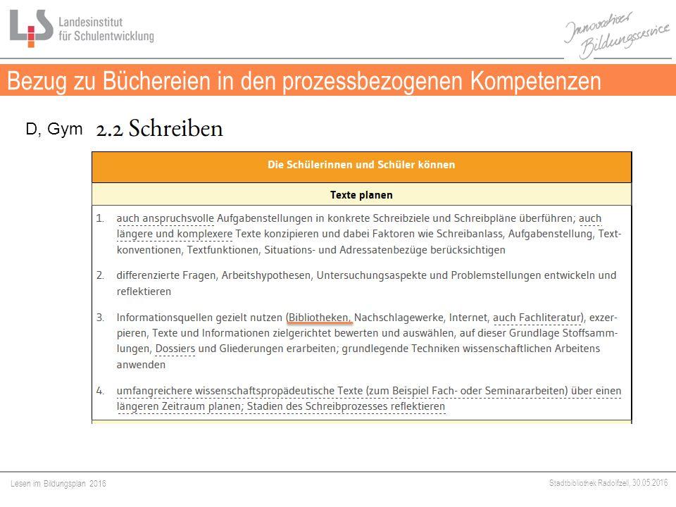 Lesen im Bildungsplan 2016 Stadtbibliothek Radolfzell, 30.05.2016 Bezug zu Büchereien in den prozessbezogenen Kompetenzen Medien D, Gym