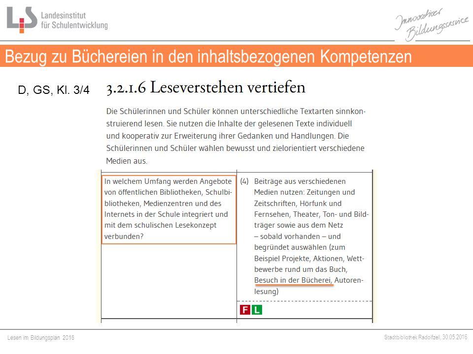 Lesen im Bildungsplan 2016 Stadtbibliothek Radolfzell, 30.05.2016 Bezug zu Büchereien in den inhaltsbezogenen Kompetenzen Medien D, GS, Kl.