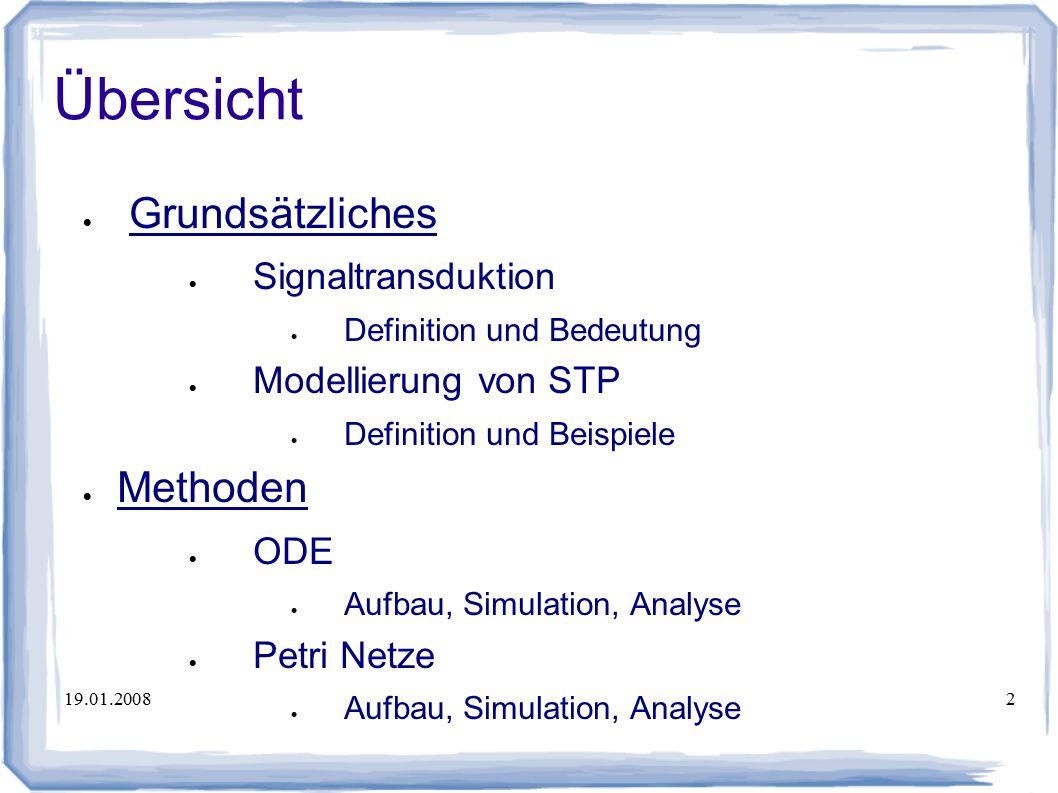 19.01.20082 Übersicht  Grundsätzliches  Signaltransduktion  Definition und Bedeutung  Modellierung von STP  Definition und Beispiele  Methoden  ODE  Aufbau, Simulation, Analyse  Petri Netze  Aufbau, Simulation, Analyse