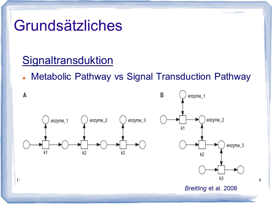 19.01.2008Maximilian Hecht4 Grundsätzliches Signaltransduktion Metabolic Pathway vs Signal Transduction Pathway  Breitling et al. 2008