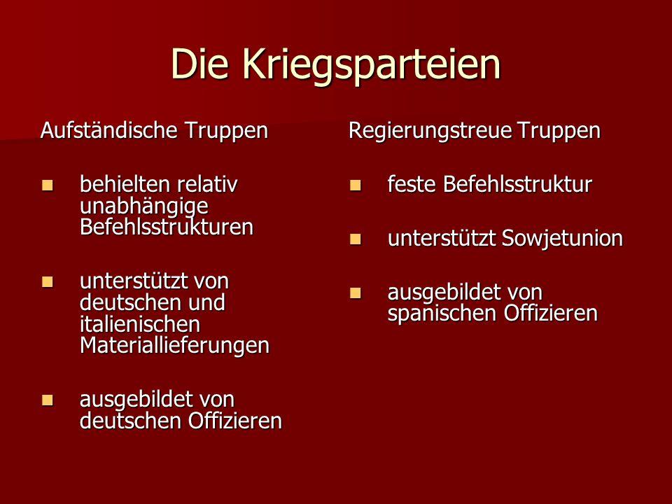 Aufständische Truppen behielten relativ unabhängige Befehlsstrukturen behielten relativ unabhängige Befehlsstrukturen unterstützt von deutschen und it