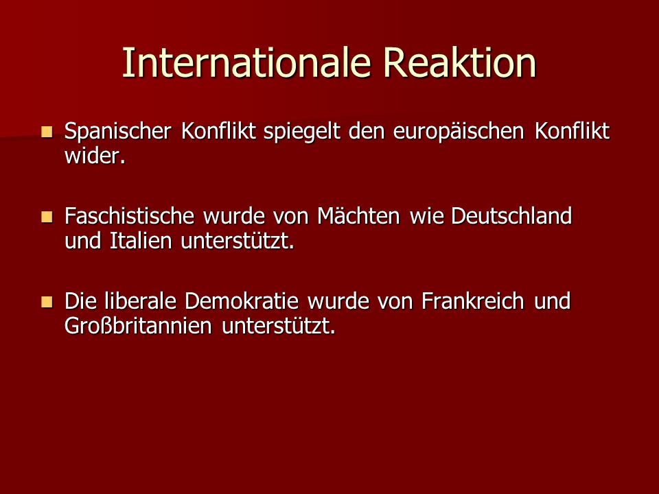 Internationale Reaktion
