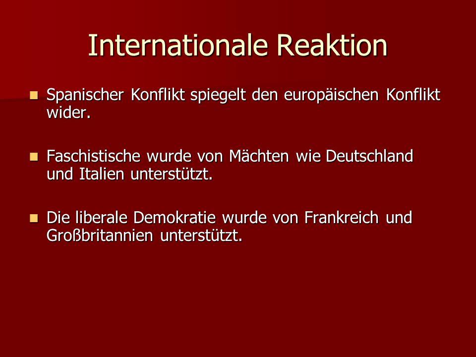 Internationale Reaktion Spanischer Konflikt spiegelt den europäischen Konflikt wider.