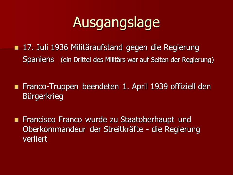 Ausgangslage 17. Juli 1936 Militäraufstand gegen die Regierung Spaniens (ein Drittel des Militärs war auf Seiten der Regierung) 17. Juli 1936 Militära