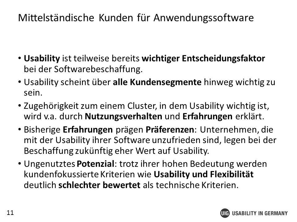 11 Mittelständische Kunden für Anwendungssoftware Usability ist teilweise bereits wichtiger Entscheidungsfaktor bei der Softwarebeschaffung.