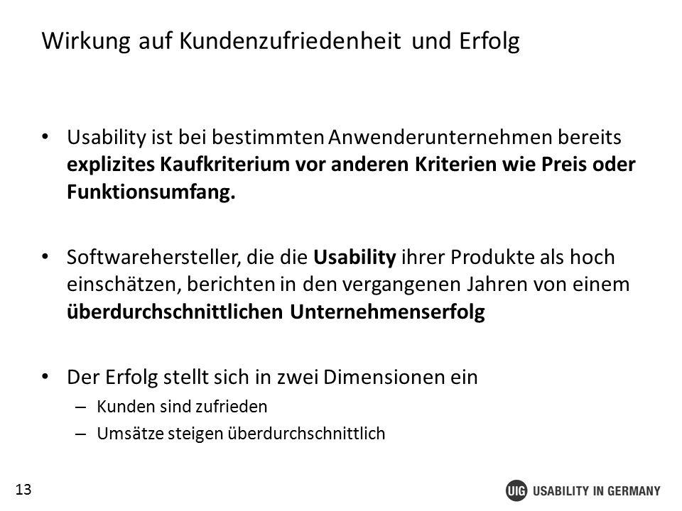 13 Wirkung auf Kundenzufriedenheit und Erfolg Usability ist bei bestimmten Anwenderunternehmen bereits explizites Kaufkriterium vor anderen Kriterien wie Preis oder Funktionsumfang.