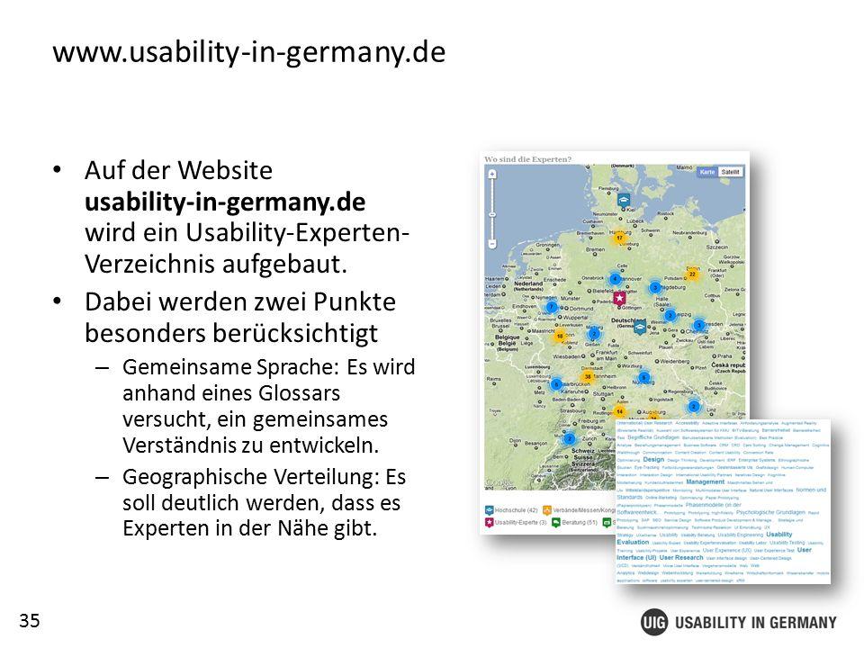 35 www.usability-in-germany.de Auf der Website usability-in-germany.de wird ein Usability-Experten- Verzeichnis aufgebaut.
