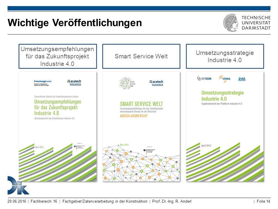 | Folie 14 Umsetzungsempfehlungen für das Zukunftsprojekt Industrie 4.0 Smart Service Welt Umsetzungsstrategie Industrie 4.0 Wichtige Veröffentlichung