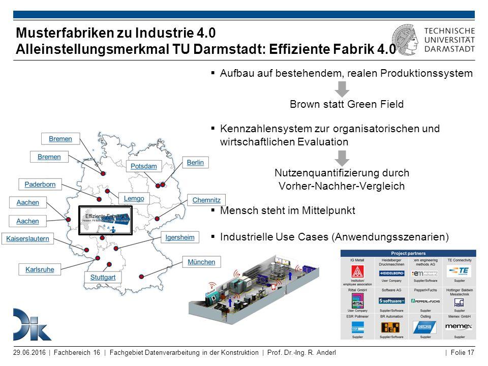 | Folie 17 Musterfabriken zu Industrie 4.0 Alleinstellungsmerkmal TU Darmstadt: Effiziente Fabrik 4.0 29.06.2016 | Fachbereich 16 | Fachgebiet Datenve