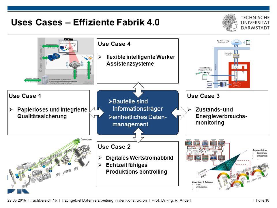 | Folie 18 Uses Cases – Effiziente Fabrik 4.0 29.06.2016 | Fachbereich 16 | Fachgebiet Datenverarbeitung in der Konstruktion | Prof. Dr.-Ing. R. Ander