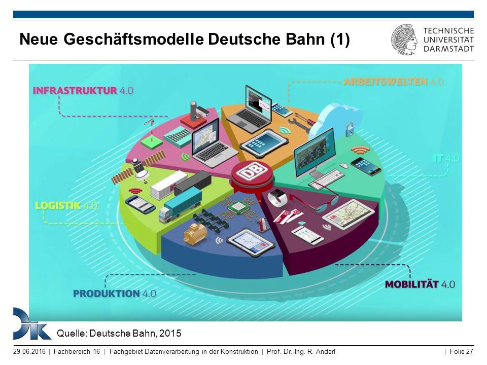| Folie 27 Neue Geschäftsmodelle Deutsche Bahn (1) 29.06.2016 | Fachbereich 16 | Fachgebiet Datenverarbeitung in der Konstruktion | Prof. Dr.-Ing. R.