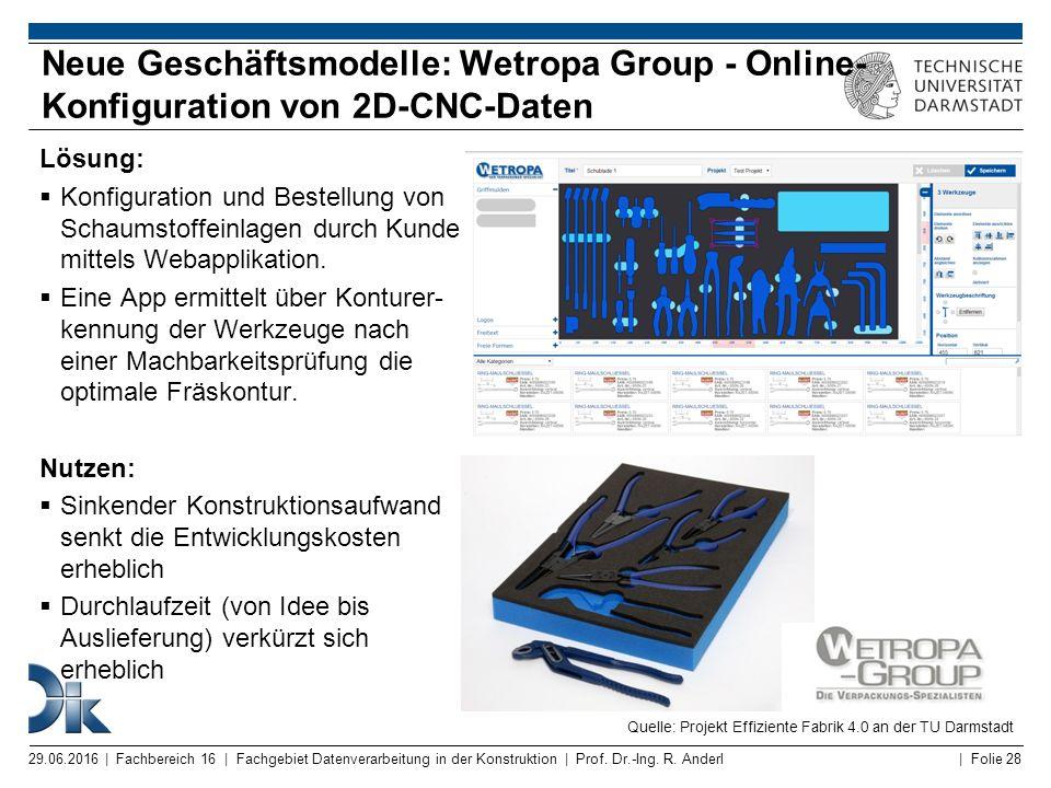 | Folie 28 Lösung:  Konfiguration und Bestellung von Schaumstoffeinlagen durch Kunde mittels Webapplikation.  Eine App ermittelt über Konturer- kenn
