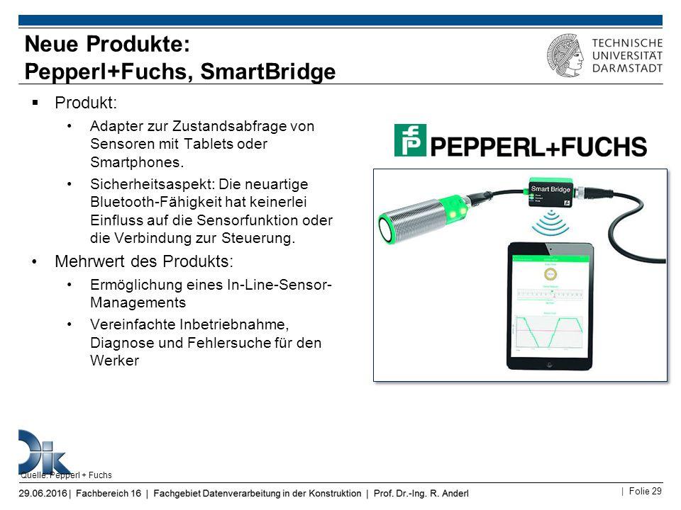 | Folie 29  Produkt: Adapter zur Zustandsabfrage von Sensoren mit Tablets oder Smartphones. Sicherheitsaspekt: Die neuartige Bluetooth-Fähigkeit hat