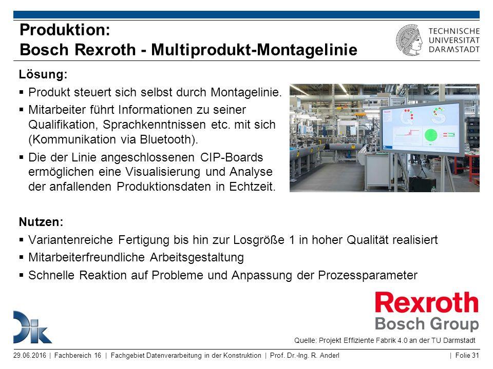 | Folie 31 Produktion: Bosch Rexroth - Multiprodukt-Montagelinie Lösung:  Produkt steuert sich selbst durch Montagelinie.  Mitarbeiter führt Informa