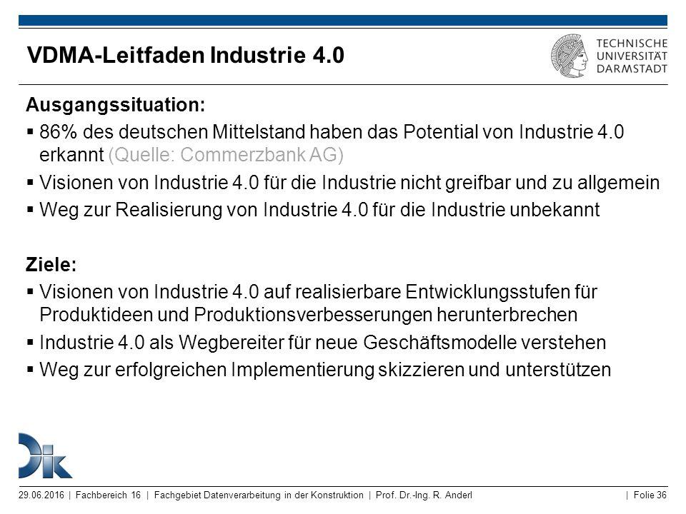 | Folie 36 VDMA-Leitfaden Industrie 4.0 Ausgangssituation:  86% des deutschen Mittelstand haben das Potential von Industrie 4.0 erkannt (Quelle: Comm