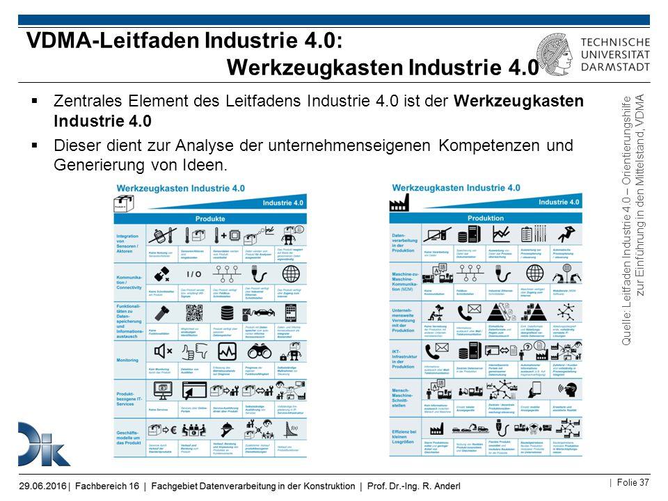 | Folie 37  Zentrales Element des Leitfadens Industrie 4.0 ist der Werkzeugkasten Industrie 4.0  Dieser dient zur Analyse der unternehmenseigenen Ko